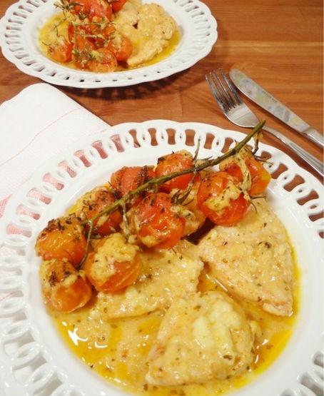 Грудинка куриная с моцареллой и помидорами черри в мультиварке: рецепт с фото