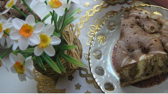 Ванильно-шоколадный пирог с бананами в мультиварке: рецепт с фото